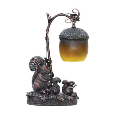 Piquant 15 in. Brown Squirrel Acorn Light Lamp