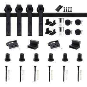 90 in. Frosted Black Sliding Barn Door Hardware Track Kit for Double Doors with Non-Routed Floor Guide