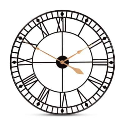 Janette Black and Gold Wall Clock