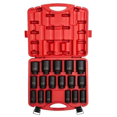 3/4 in. Drive Deep Metric Impact Socket Set (17-Piece)