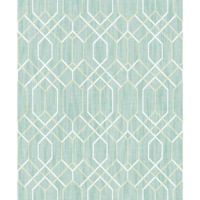 Lyla Teal Trellis Strippable Wallpaper (Covers 57.8 sq. ft.)