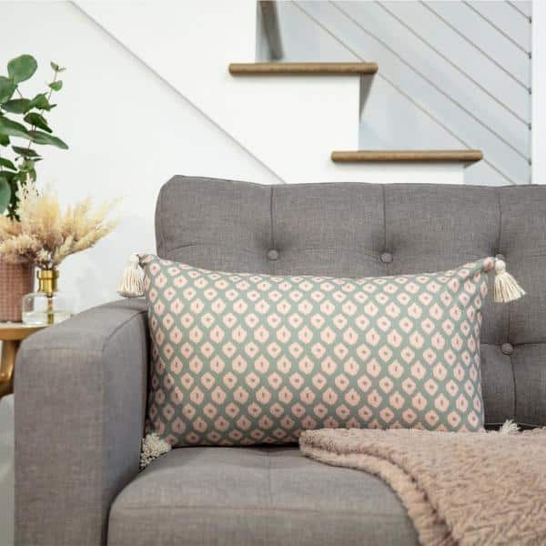 Arden Selections Green Global Geometric 14 In X 24 In Home Indoor Lumbar Pillow With Tassels Ek20p18a 8 The Home Depot
