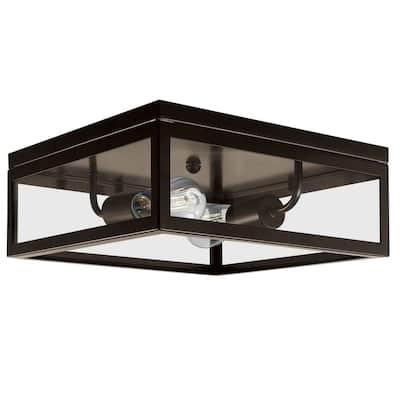 Memphis 2-Light Dark Bronze Flush Mount Ceiling Light