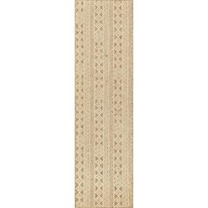 Devon Geometric Stiped Beige 2 ft. x 8 ft. Indoor/Outdoor Runner Rug