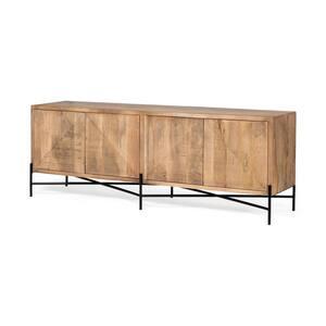 Cairo 78 x 19 Brown Solid Wood Black Metal Base 4-Door Cabinet Sideboard
