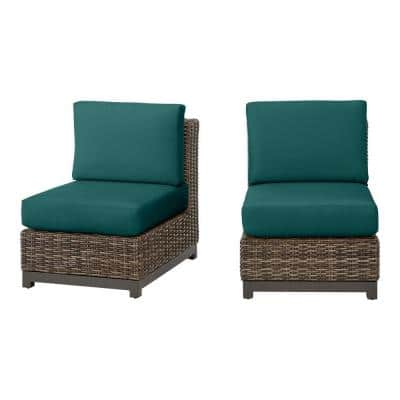 Fernlake Taupe Wicker Armless Middle Outdoor Patio Sectional Chair with CushionGuard Malachite Green Cushions (2-Pack)