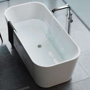 Hydro Systems Richmond 5 Ft Solid Surface Flat Bottom Whirlpool Freestanding Air Bath Bathtub In White Ric5736mta Whi The Home Depot