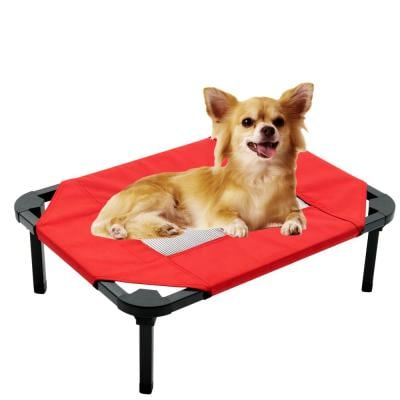 Small 24 in. Red Elevated Pet Bed Comfort Cot