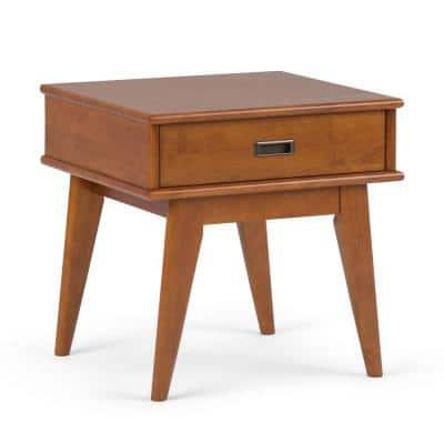 Baxter Solid Hardwood 22 inch Wide Rectangle Mid Century Modern End Table in Teak Brown