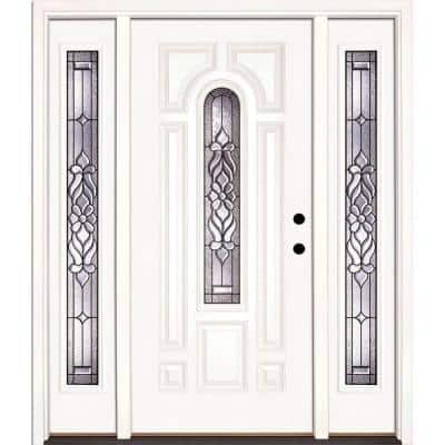63.5 in.x81.625in.Lakewood Patina Center Arch Lt Unfinished Smooth Left-Hand Fiberglass Prehung Front Door w/ Sidelites