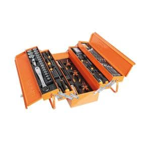 1/2'' Drive Metric Socket Set with Ratchet, Screwdrivers, wrenches and General Maintenance Tools in Tool Box 91-Piece