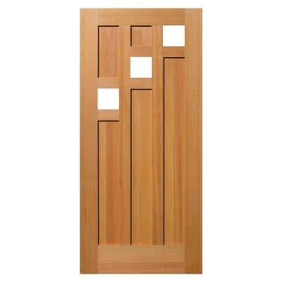 36 in. x 80 in. 5 Panel Universal/Reversible 3-Lite Clear Glass Unfinished Fir Wood Front Door Slab