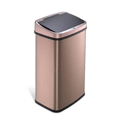 13 Gal. Motion Sensor Gold Rectangular Shape Stainless Steel Trash Can