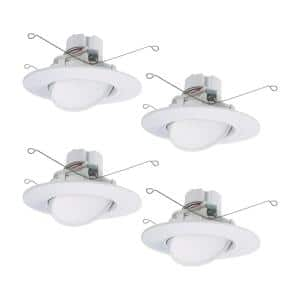 5 in./6 in. 2700K-5000K White Integrated LED Recessed Adjustable Gimbal Retrofit Trim with Selectable CCT (4-Pack)
