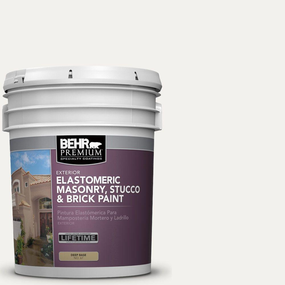 5 gal. #MS-39 Crystal White Elastomeric Masonry, Stucco and Brick Exterior Paint