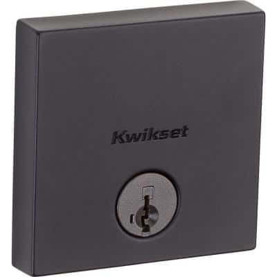 Downtown Low Profile Iron Black Square Single Cylinder Contemporary Deadbolt featuring SmartKey Security