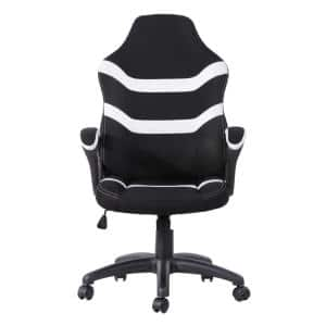 White Ergonomic Fabric Upholstery Gaming Chair with Adjustable Height and Back Support for Home or Office