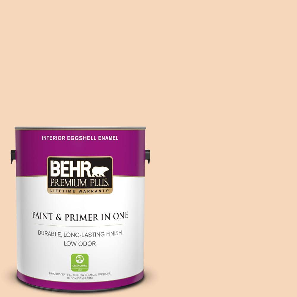 Behr Premium Plus 1 Gal Ppu4 11 Porcelain Peach Eggshell Enamel Low Odor Interior Paint And Primer In One 205001 The Home Depot