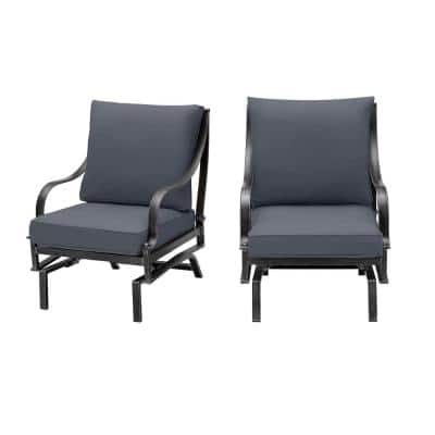 Highland Point Black Pewter Aluminum Outdoor Patio Rocking Lounge Chair with CushionGuard Sky Blue Cushions (2-Pack)