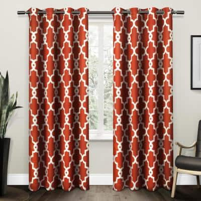 Mecca Orange Trellis Thermal Blackout Curtain - 52 in. W x 84 in. L (Set of 2)