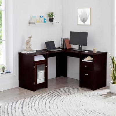 59 in. L-Shaped Espresso 2-Drawer Computer Desk with File Storage