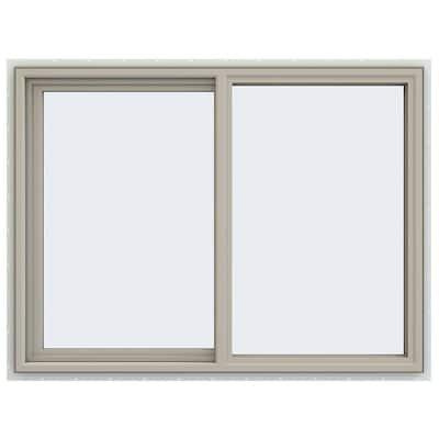 47.5 in. x 35.5 in. V-4500 Series Desert Sand Vinyl Left-Handed Sliding Window with Fiberglass Mesh Screen