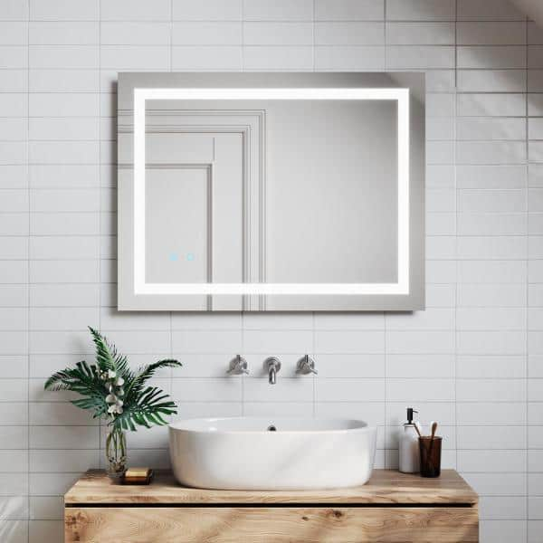 Toolkiss 28 In X 36 In Led Lighted Single Frameless Bathroom Mirror With Anti Fog Dimmable Vanity Tk19036 The Home Depot