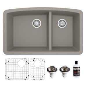 QU-711 Quartz/Granite 32 in. Double Bowl 60/40 Undermount Kitchen Sink in Concrete with Bottom Grid and Strainer
