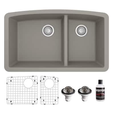 QU-711 Quartz/Granite 32 in. Double Bowl 60/40 Undermount Kitchen Sink in Concrete with Bottom Grid and Strainer