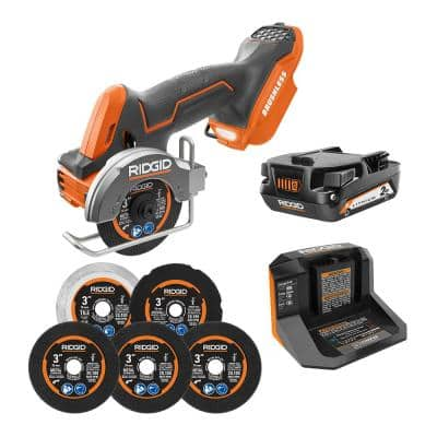18V SubCompact Brushless Cordless 3 in. Multi-Material Saw Kit with (6) Cutting Wheels, 2.0 Ah Battery, and 18V Charger
