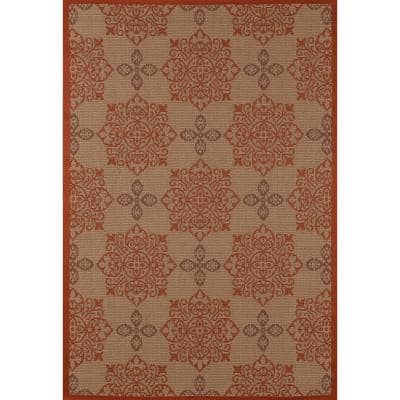 Plymouth Milan Red 8 ft. x 11 ft. Indoor/Outdoor Area Rug