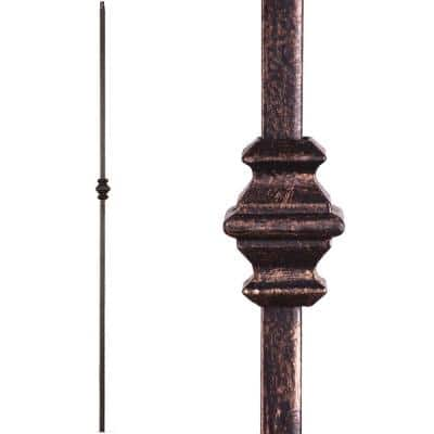 Versatile 44 in. x 0.5 in. Oil Rubbed Bronze Single Knuckle Hollow Wrought Iron Baluster