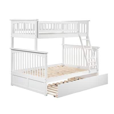 Columbia Bunk Bed Twin over Full with Full Size Urban Trundle Bed in White