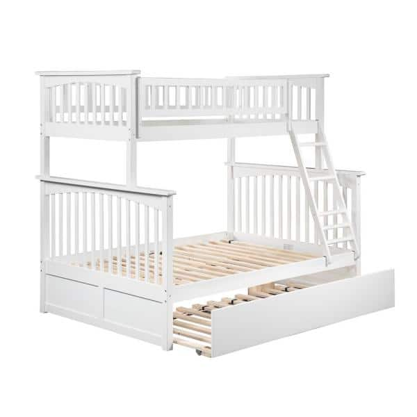 Atlantic Furniture Columbia Bunk Bed Twin over Full with Full Size Urban Trundle Bed in White | The Home Depot