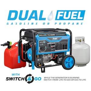 12,000-Watt/9,500-Watt Electric Start Gas and Propane Dual Fuel Portable Generator for Jobsite, RV, Home, CARB Compliant