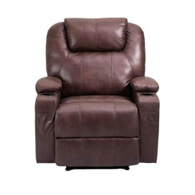 Brown Faux Leather Manual Reclining Recliner with Cupholder and Side Pocket for Living Room or Bedroom