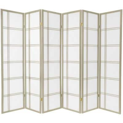 6 ft. Grey Double Cross 6-Panel Room Divider