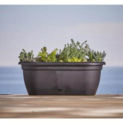 Lucca 19 in. Charcoal Plastic Self-Watering Window Box with Saucer