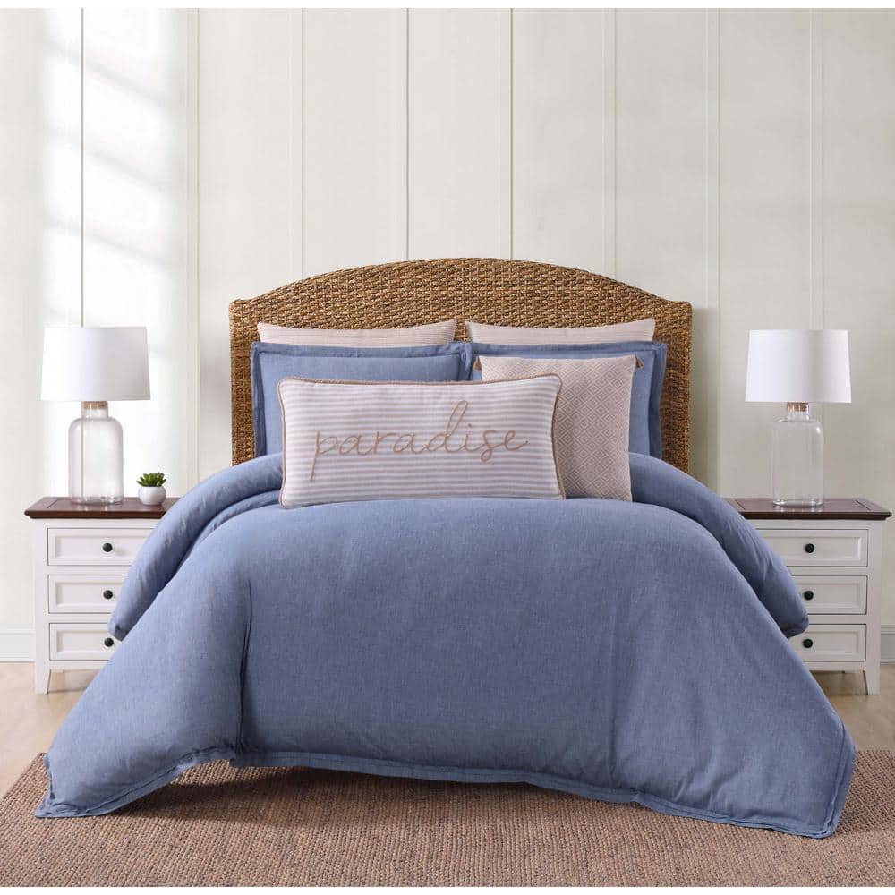 Oceanfront Resort Chambray Coast 3 Piece Blue King Duvet Cover Set Dcs2364blk 1800 The Home Depot