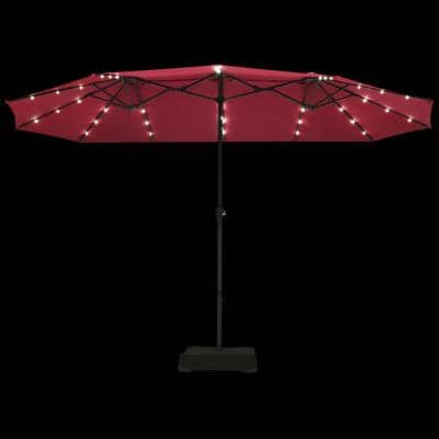 15 ft. Steel Market Solar Patio Umbrella in Red with LED Lights and Base Stand