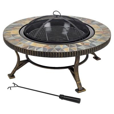 Olivia Slate Top 34 in. W x 19.6 in. H Round Steel Wood Burning Rubbed Gold Fire Pit