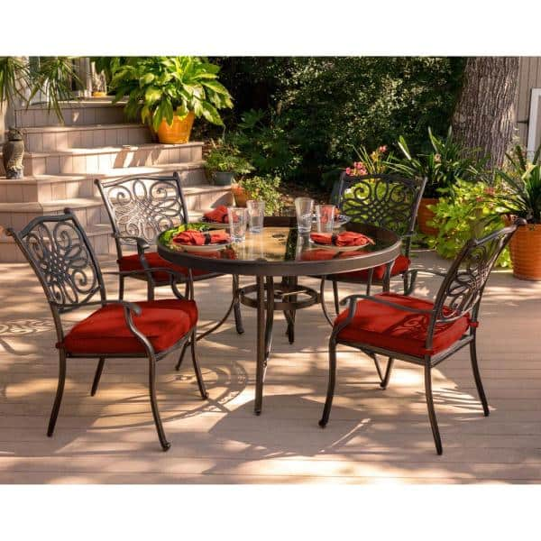 Red Cushions And Glass Top Table, Red Patio Table Set