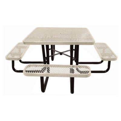 46 in. Sandstone Square Commercial Park Portable Picnic Table