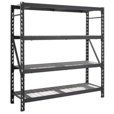 Black 4-Tier Heavy Duty Industrial Welded Steel Garage Shelving Unit (77 in. W x 78 in. H x 24 in. D)