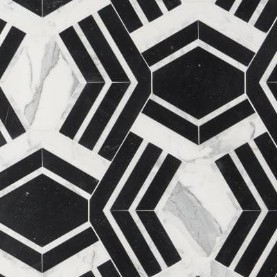 Tenor Black and White 18 in. x 11 in. Polished Marble Mosaic Tile (1.37 sq. ft./Sheet)