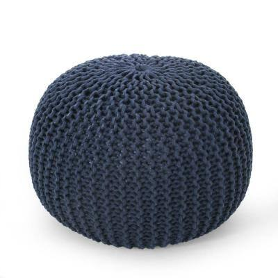 Moloney Navy Cotton Knitted Round Pouf