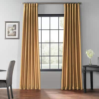 Flax Gold Textured Grommet Blackout Curtain - 50 in. W x 96 in. L