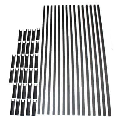 6 ft. Textured Black Aluminum Level Picket and Spacer Set with 42 in. Finished Railing Height