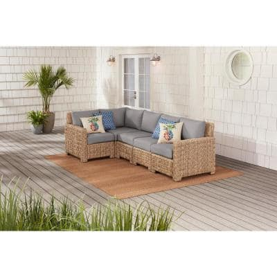 Laguna Point 5-Piece Natural Tan Wicker Outdoor Patio Sectional Sofa with CushionGuard Stone Gray Cushions