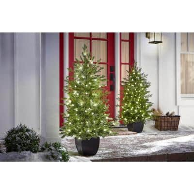 4 ft Pre-Lit Potted Artificial Christmas Tree with 100 Warm White Mini Lights (2 Pack)